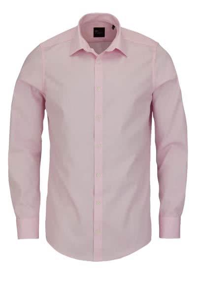 VENTI Slim Fit Hemd Basic Kent Langarm Popeline rosa - Hemden Meister