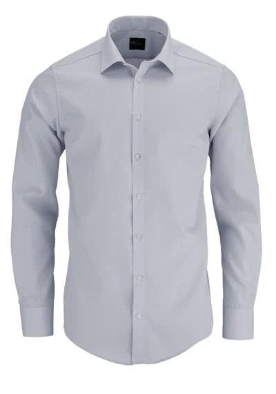 VENTI Slim Fit Hemd Basic Kent Langarm Popeline silber - Hemden Meister