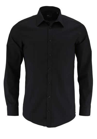 VENTI Body Stretch Hemd super langer Arm Popeline schwarz - Hemden Meister
