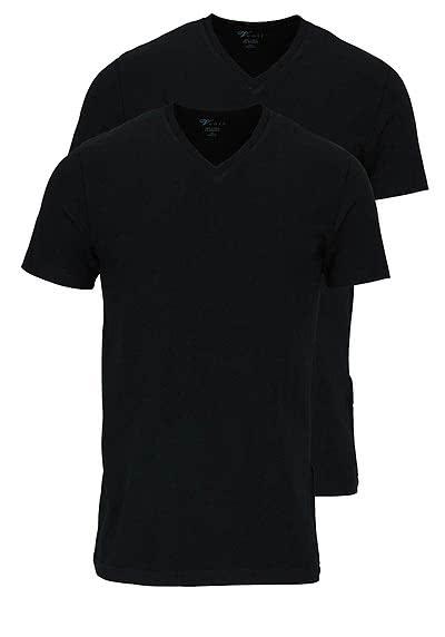 VENTI Slim Fit T-Shirt V-Ausschnitt Baumwollmix Doppelpack schwarz - Hemden Meister