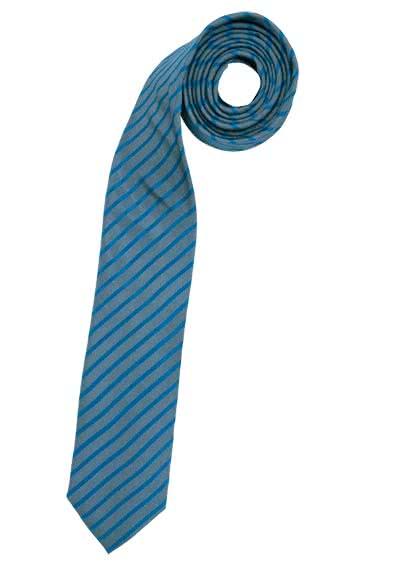 VENTI Seidenkrawatte 6 cm breit fleckenabweisend Streifen mittelblau - Hemden Meister