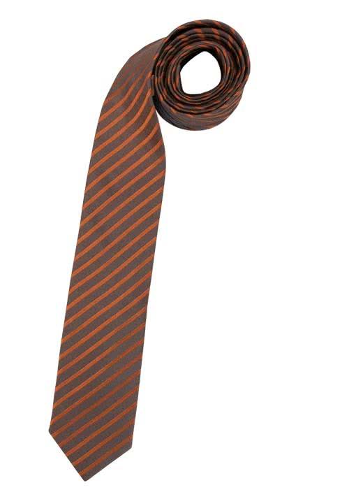 VENTI Seidenkrawatte 6 cm breit fleckenabweisend Streifen dunkelbraun - Hemden Meister
