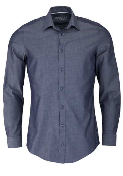 VENTI Body Fit Hemd Langarm New Kent Kragen Chambray dunkelblau - Hemden Meister