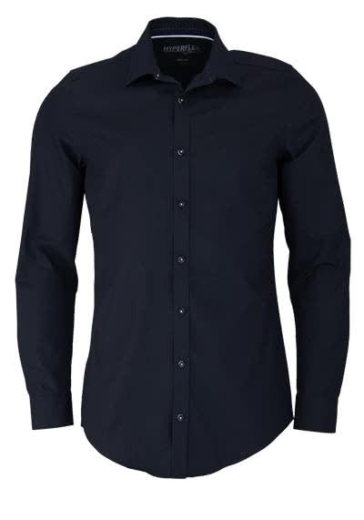 VENTI Body Fit Hemd Langarm New Kent Kragen Chambray schwarz - Hemden Meister