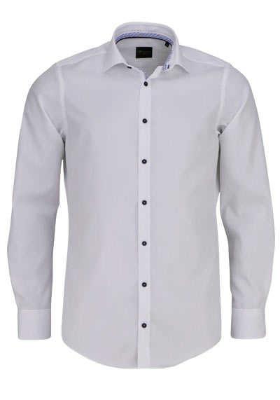 VENTI Slim Fit Hemd Langarm New Kent Kragen blauer Besatz weiß - Hemden Meister