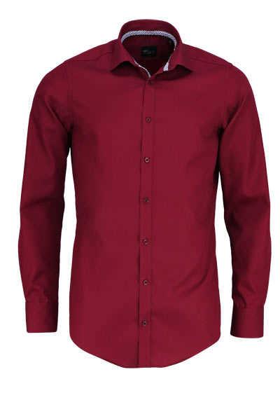 VENTI Slim Fit Hemd Langarm New Kent Kragen schwarzer Besatz weinrot - Hemden Meister