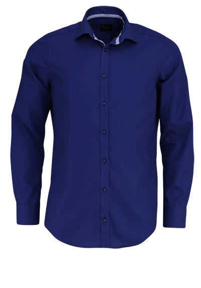 VENTI Slim Fit Hemd Langarm New Kent Kragen blauer Besatz blau - Hemden Meister