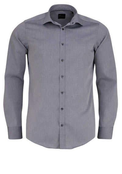 VENTI Slim Fit Hemd Langarm New Kent Kragen schwarzer Besatz grau - Hemden Meister
