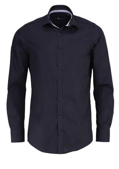 VENTI Slim Fit Hemd Langarm New Kent Kragen schwarzer Besatz schwarz - Hemden Meister