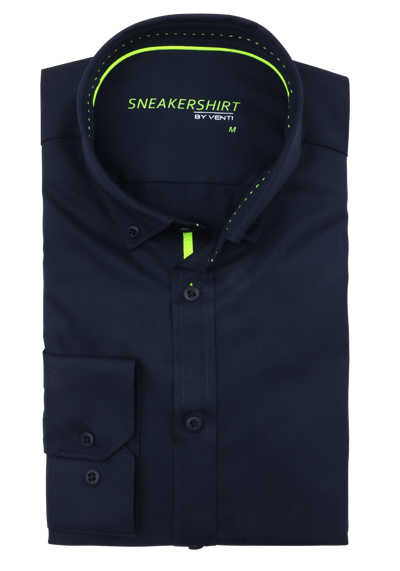 VENTI Modern Fit Hemd Langarm SNEAKERSHIRT nachtblau