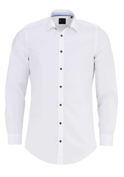 VENTI Body Fit Hemd extra langer Arm mit blauem Besatz weiß - Hemden Meister