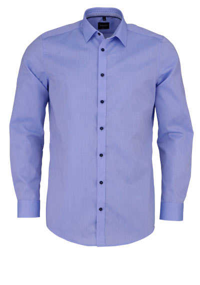 VENTI Body Fit Hemd Langarm New Kent Kragen blauer Besatz hellblau - Hemden Meister