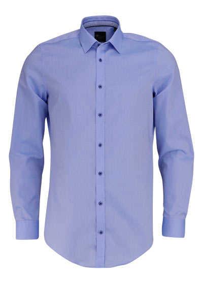 VENTI Body Fit Hemd Langarm New Kent Kragen mit blauem Besatz hellblau - Hemden Meister