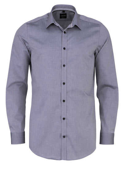 VENTI Body Fit Hemd Langarm New Kent Kragen schwarzer Besatz graphit - Hemden Meister