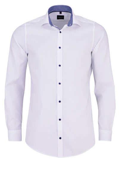 VENTI Body Fit Hemd Langarm New Kent Kragen blauer Besatz weiß - Hemden Meister