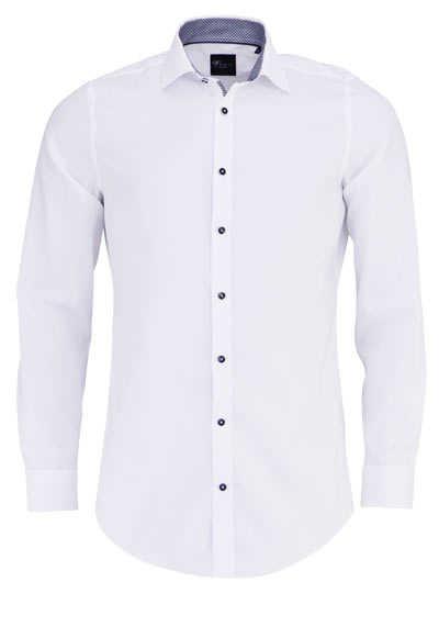 VENTI Body Fit Hemd Langarm New Kent Kragen schwarzer Besatz weiß - Hemden Meister