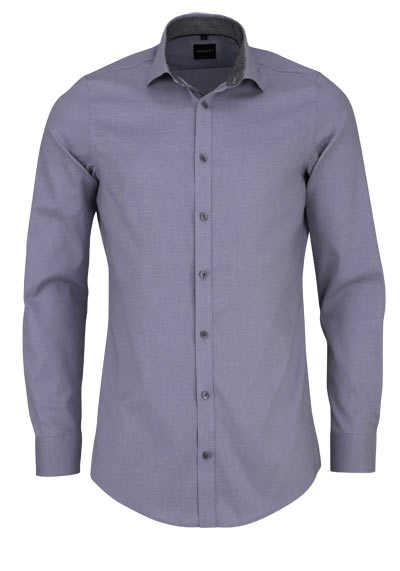 VENTI Body Fit Hemd Langarm New Kent Kragen mit Besatz grau - Hemden Meister