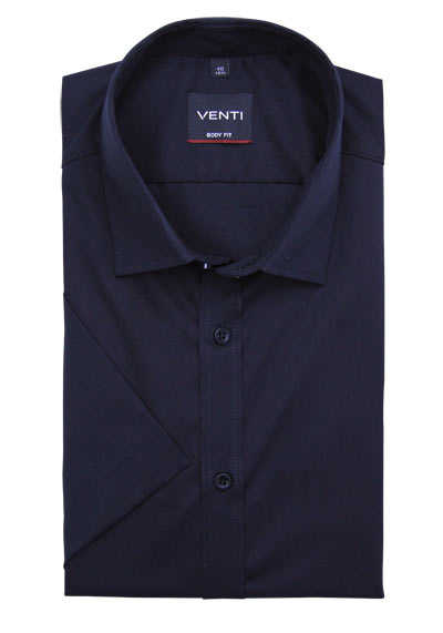 VENTI Body Fit Hemd Halbarm New Kent Kragen Natural Stretch schwarz