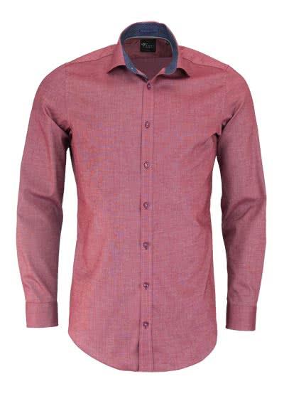 VENTI Body Fit Hemd Langarm New Kent Kragen mit Patch Struktur weinrot - Hemden Meister