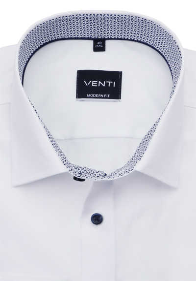 VENTI Modern Fit Hemd super langer Arm New Kent Kragen Patch weiß