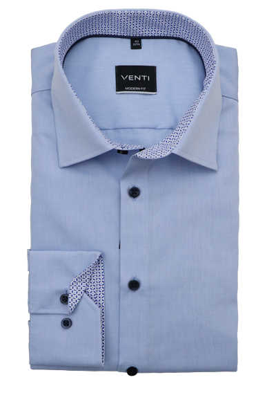 VENTI Modern Fit Hemd super langer Arm New Kent Kragen Patch hellblau