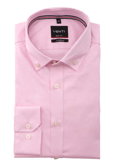 VENTI Body Fit Herrenhemd Langarm Button Down Kragen Struktur rosa