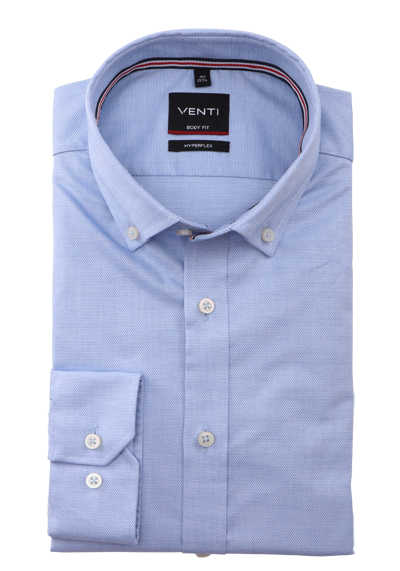 VENTI Body Fit Herrenhemd Langarm Button Down Kragen Struktur blau