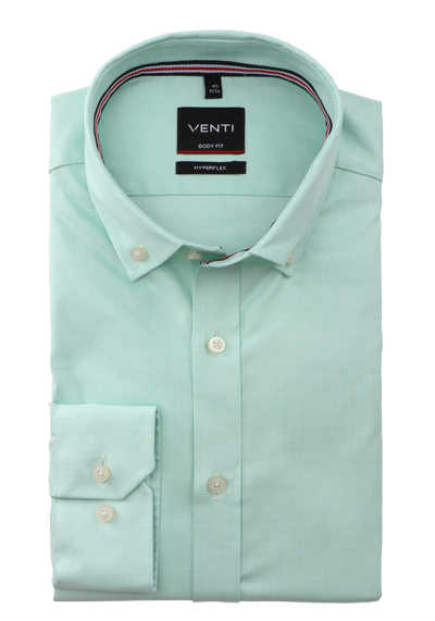VENTI Body Fit Herrenhemd Langarm Button Down Kragen Struktur grün