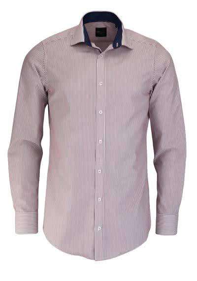 VENTI Slim Fit Hemd Langarm mit Besatz Streifen weinrot - Hemden Meister