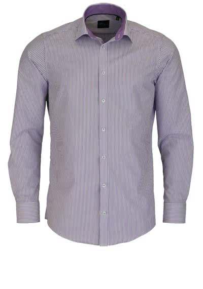VENTI Slim Fit Hemd Langarm mit Besatz Streifen lila - Hemden Meister