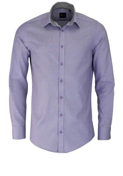 VENTI Slim Fit Hemd Langarm mit schwarzen Besätzen Struktur flieder - Hemden Meister