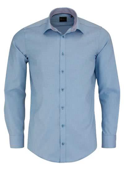 VENTI Slim Fit Hemd Langarm mit blauen Besätzen Struktur türkis - Hemden Meister