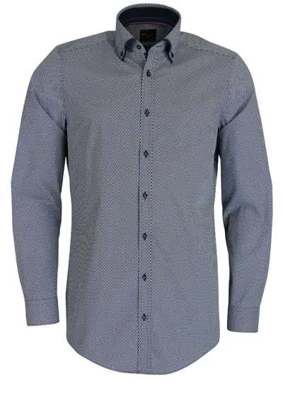 VENTI Body Fit Hemd Langarm Button Down Kragen Muster dunkelblau