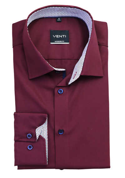 VENTI Modern Fit Hemd extra langer Arm New Kent Kragen Patch weinrot