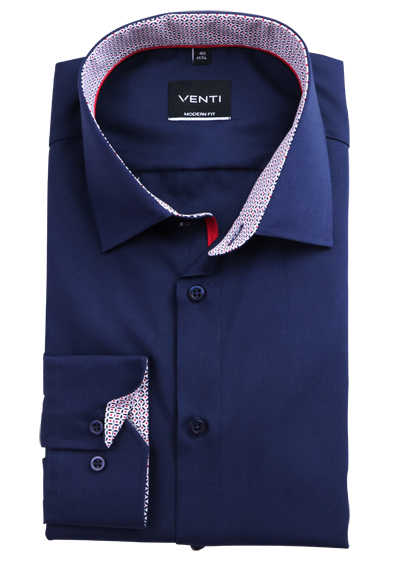 VENTI Modern Fit Hemd super langer Arm New Kent Kragen Patch dunkelblau