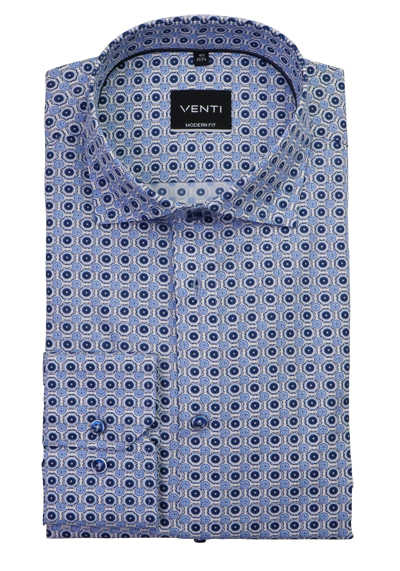 VENTI Modern Fit Herrenhemd super langer Arm Under Button Down Kragen Muaster blau