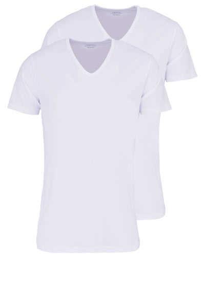 0a692813229631 VENTI Modern Fit T-Shirt V-Ausschnitt Baumwollmix Doppelpack weiß  preisreduziert