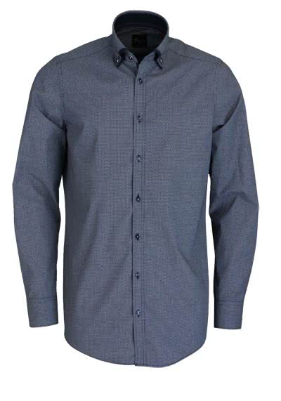 VENTI Slim Fit Hemd Langarm Button Down Kragen Muster blau