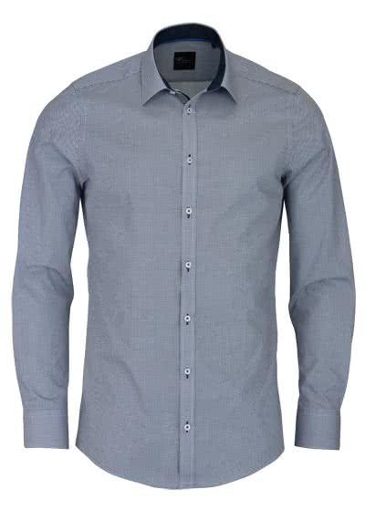 VENTI Slim Fit Hemd Langarm New Kent Kragen Patch Muster dunkelblau 5992f6d8f2