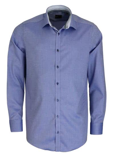 VENTI Slim Fit Hemd super langer Arm New Kent Kragen Muster blau