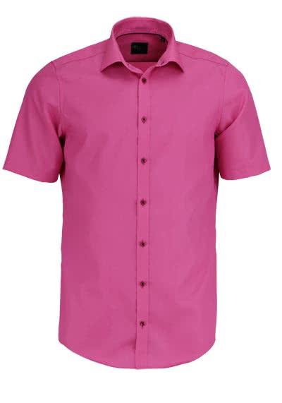 VENTI Slim Fit Hemd Halbarm New Kent Kragen Popeline pink - Hemden Meister