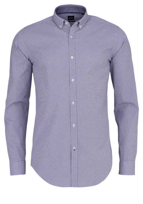 BOSS Slim Fit Hemd RIKARD_53 Langarm Button Down Muster blau