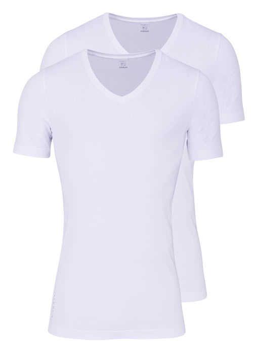 BUGATTI Slim Fit Halbarm T-Shirt Single Jersey Doppelpack weiß
