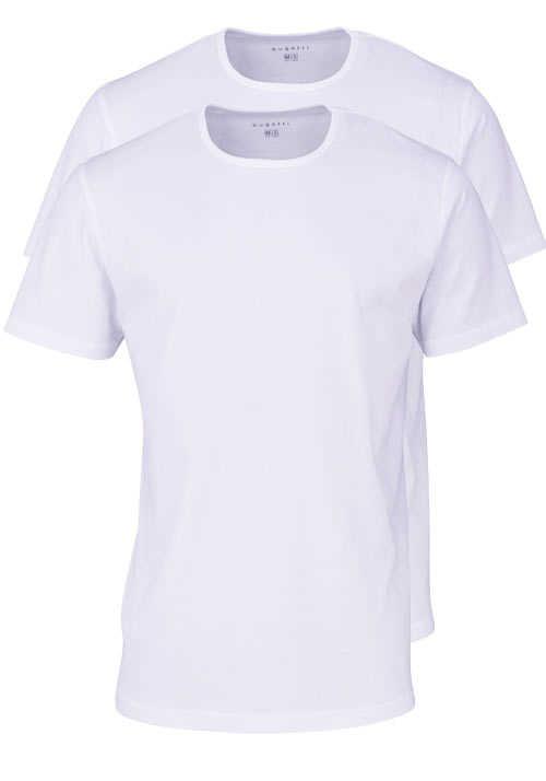 BUGATTI Halbarm T-Shirt Rundhals Single Jersey Doppelpack weiß