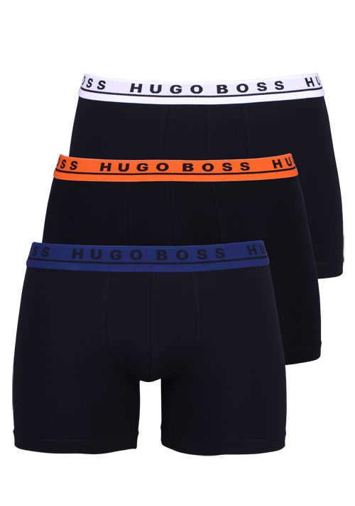BOSS Boxershorts verschiedene Bundfarben 3er Pack schwarz