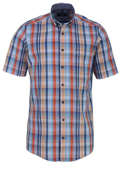 CASAMODA Comfort Fit Hemd Halbarm Button Down Kragen Karo blau