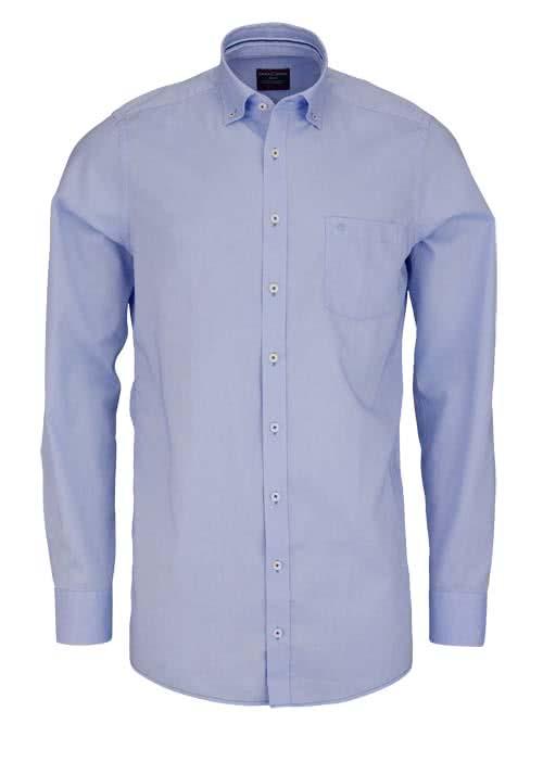 CASAMODA Comfort Fit Hemd extra langer Arm mit Besatz aqua