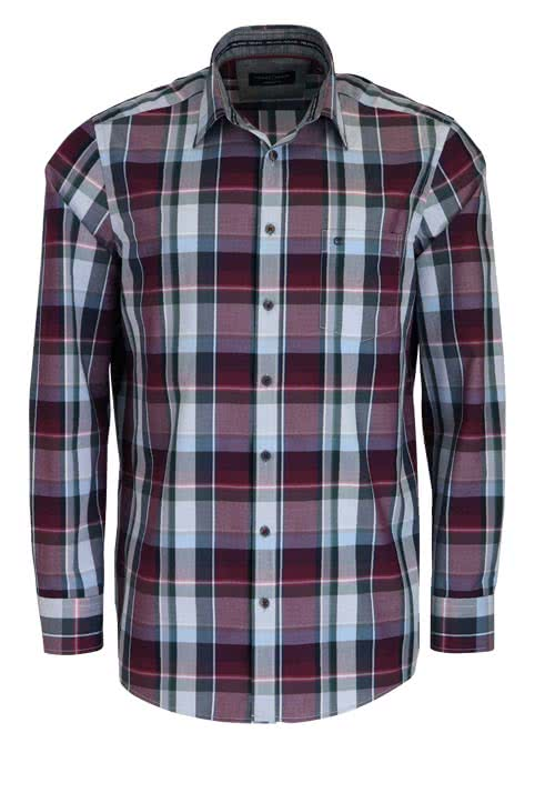 CASAMODA Comfort Fit Hemd extra langer Arm New Kent Kragen Karo grau