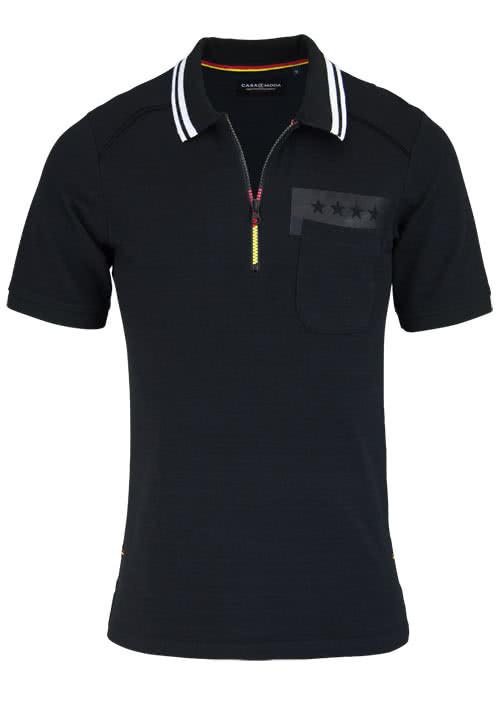 CASAMODA Poloshirt Halbarm mit Reißverschluss WM 2018 schwarz