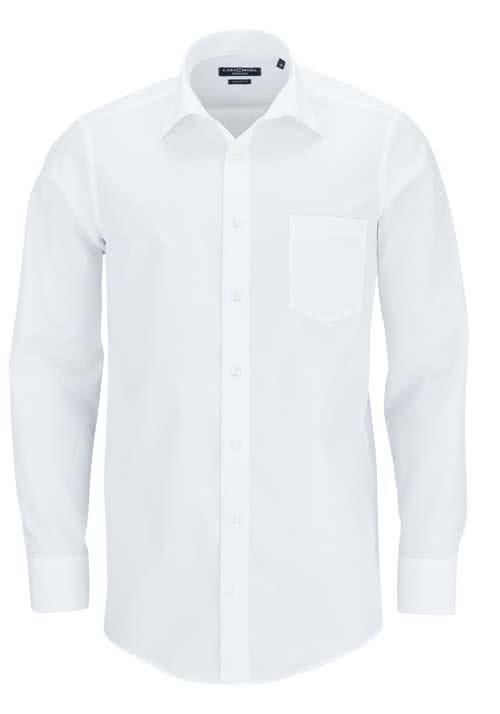 CASAMODA Comfort Fit Hemd Langarm New Kent Kragen Popeline weiß